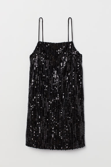 Abito corto con paillettes - Nero - DONNA | H&M IT