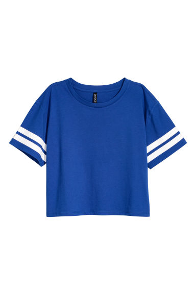 Cropped T-shirt - Bright blue -  | H&M CN