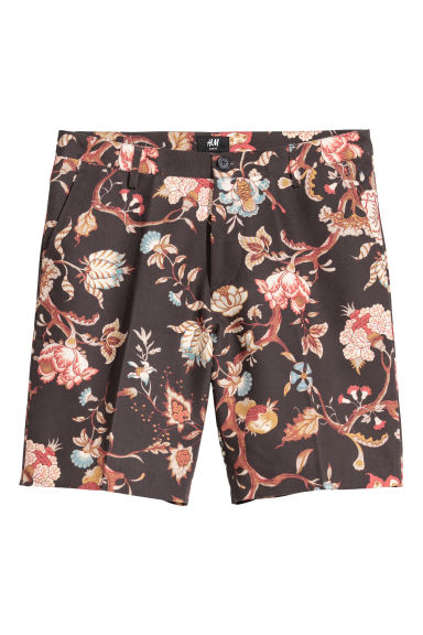 City shorts Slim fit - Dark blue/Floral -  | H&M