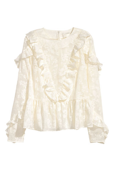 Frilled blouse - Natural white -  | H&M CN