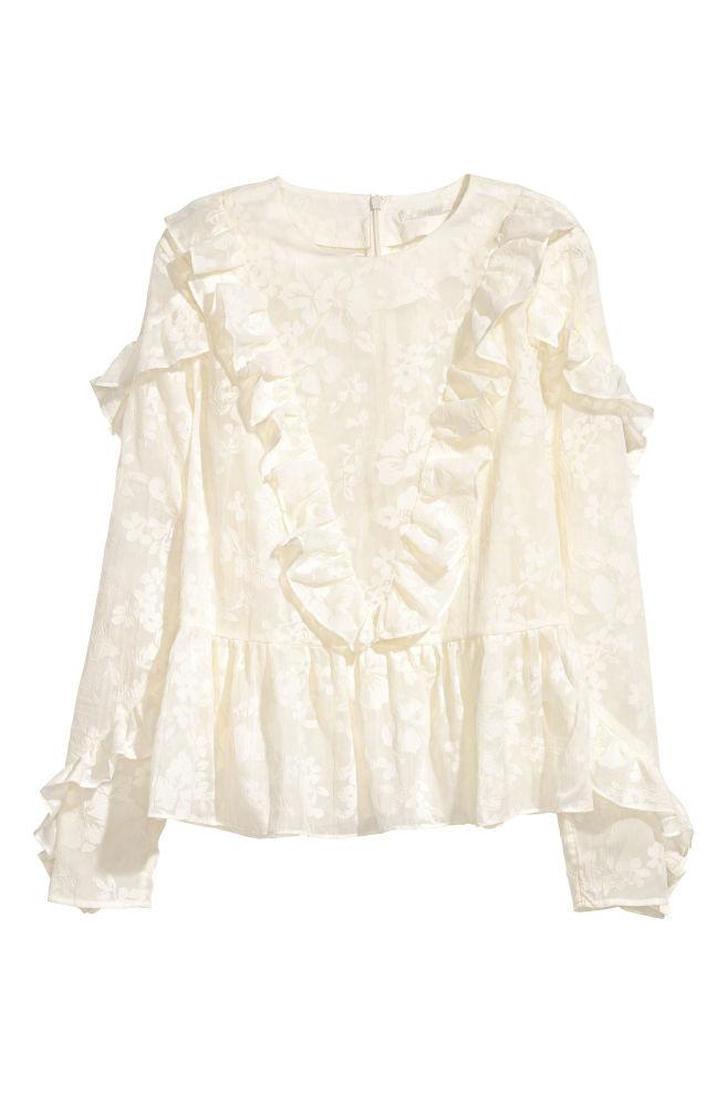 03aeec891d3 Ruffled Blouse - Natural white - Ladies