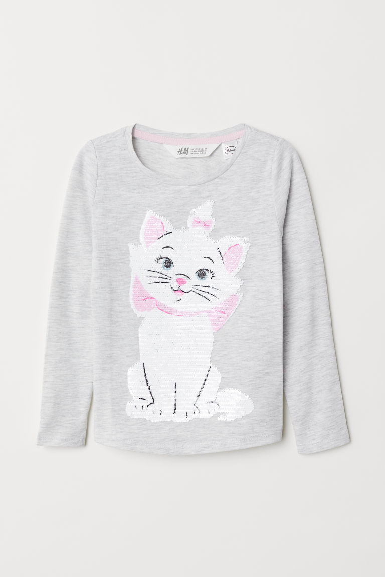 Top with reversible sequins - Light grey marl/Aristocats - Kids | H&M