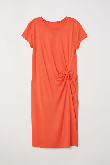 Draped jersey dress - Coral red - Ladies | H&M