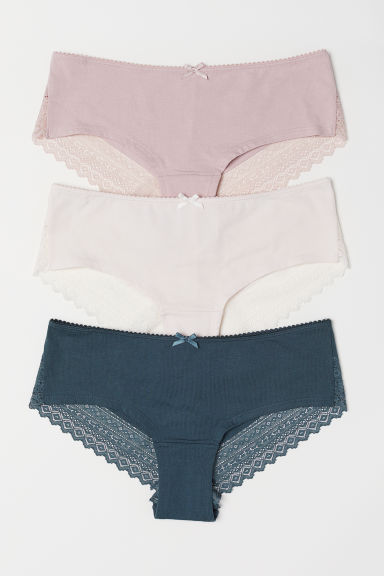 3-pack cotton hipster briefs - Dark turquoise/Powder pink - Ladies | H&M