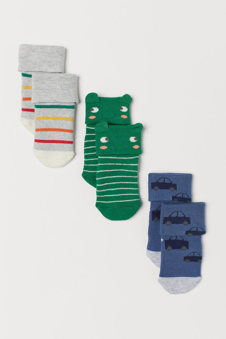 3-pack terry socks - Green/Striped - Kids | H&M CN