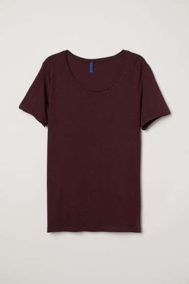 T-shirt met diepe hals - Bordeauxrood - HEREN | H&M BE