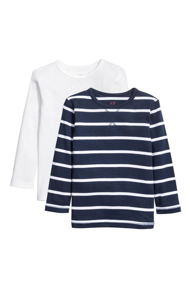 3d905a9548 2-pack jersey tops - Dark blue/White striped - Kids | H&M GB