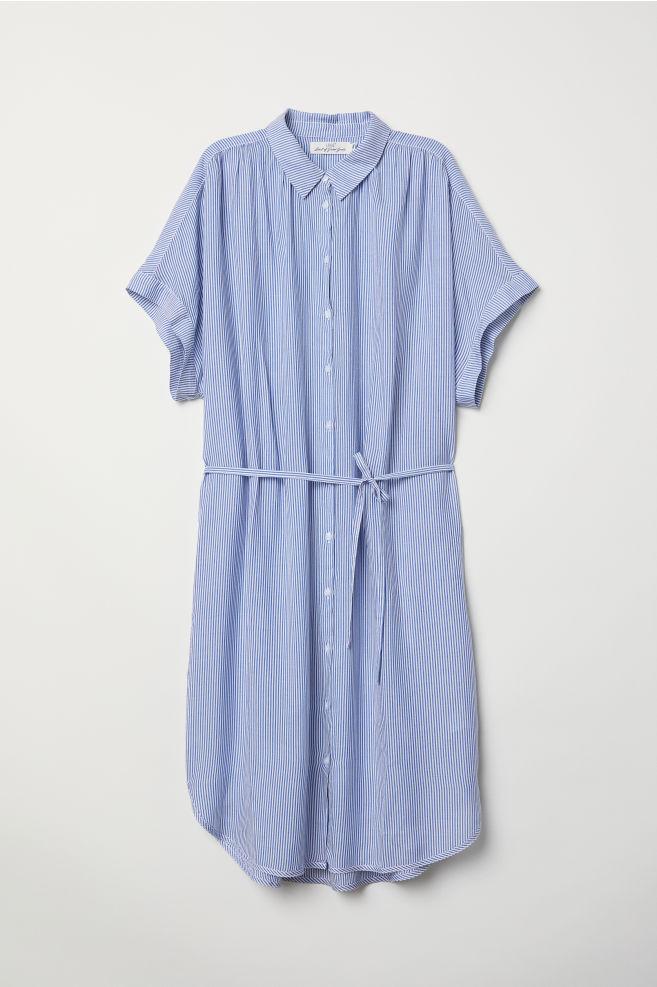 53f25f5616f Modal shirt dress - Dark blue White striped - Ladies