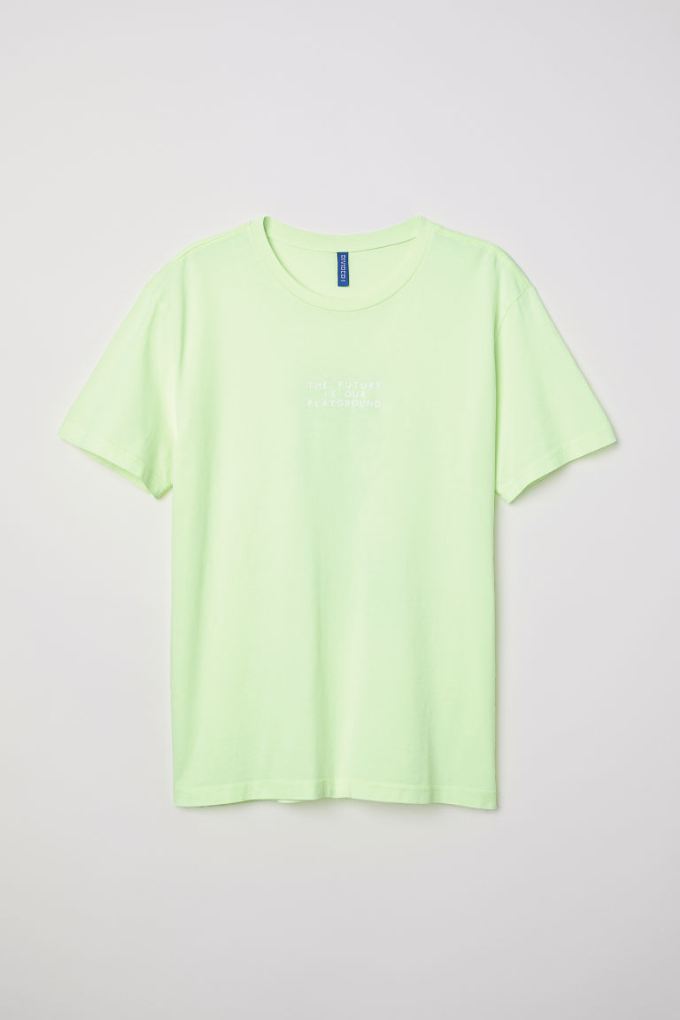 T-shirt with Printed Design - Neon green - Men | H&M CA