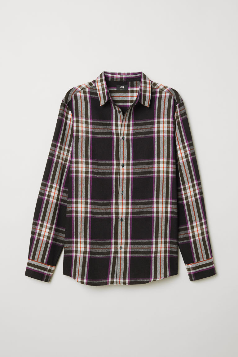 Checked shirt Regular Fit - Black/Purple checked - Men | H&M CN