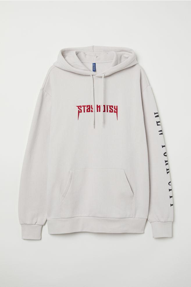 2c9130b162e8 Hooded jumper - Light beige/Stay Noisy - Men | H&M ...