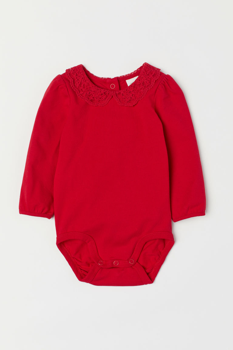 Lace-collared bodysuit - Red - Kids | H&M CN