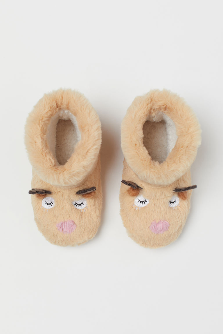 Soft Slippers - Light beige/reindeer - Kids | H&M CA