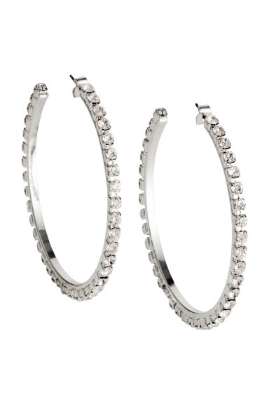 Sparkly stone earrings - Silver-coloured -  | H&M