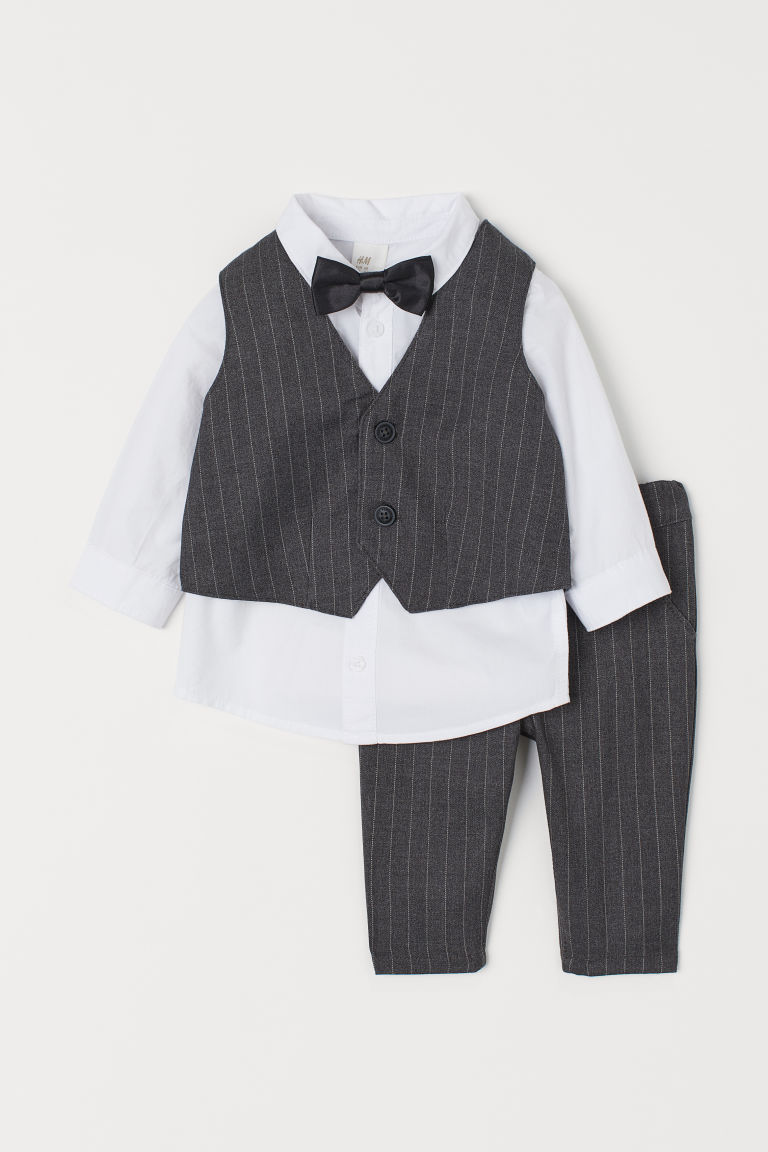 4-piece Set - Dark gray/pinstriped - Kids | H&M US