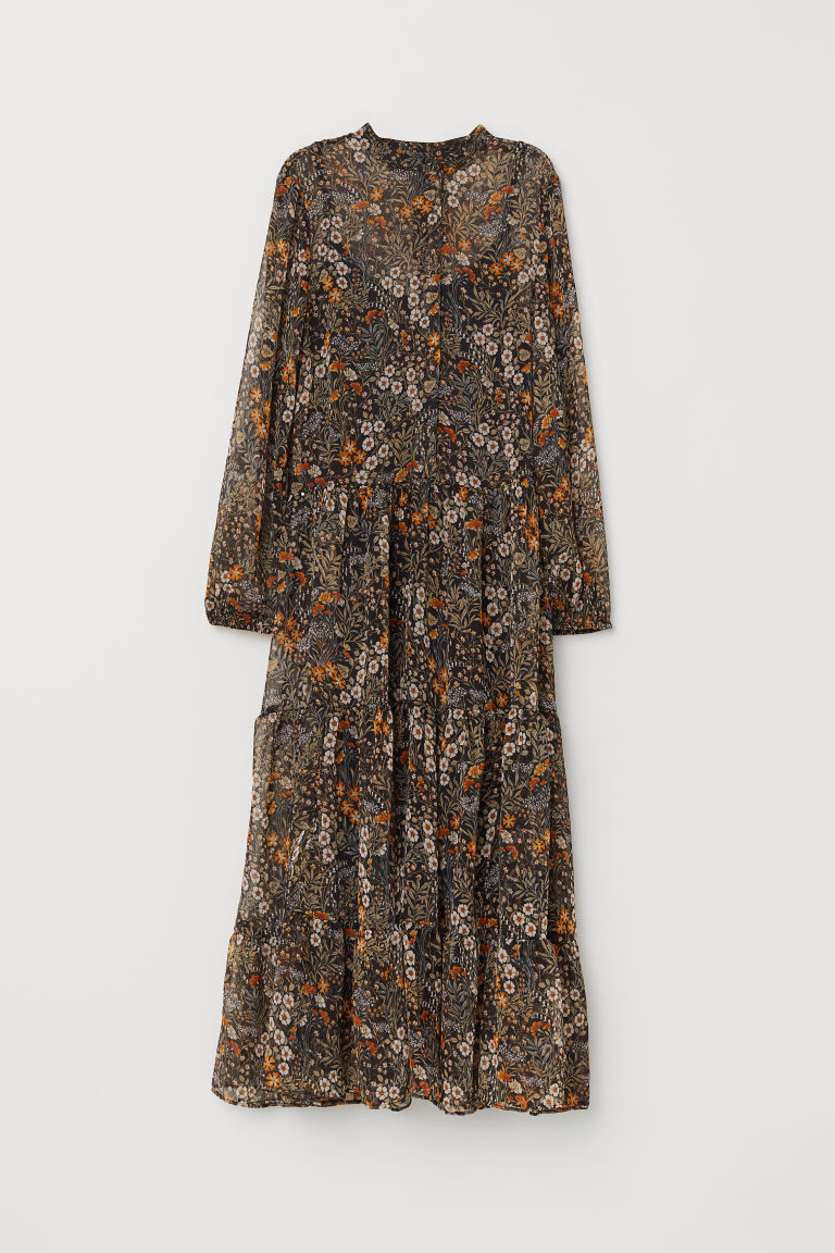 Patterned chiffon dress - Black/Floral - Ladies | H&M