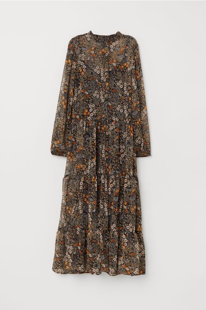 31b975b520bbc Patterned Chiffon Dress - Black/floral -   H&M ...