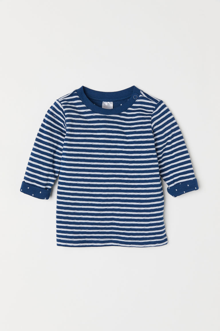 Long-sleeved cotton top - Dark blue/White striped - Kids | H&M