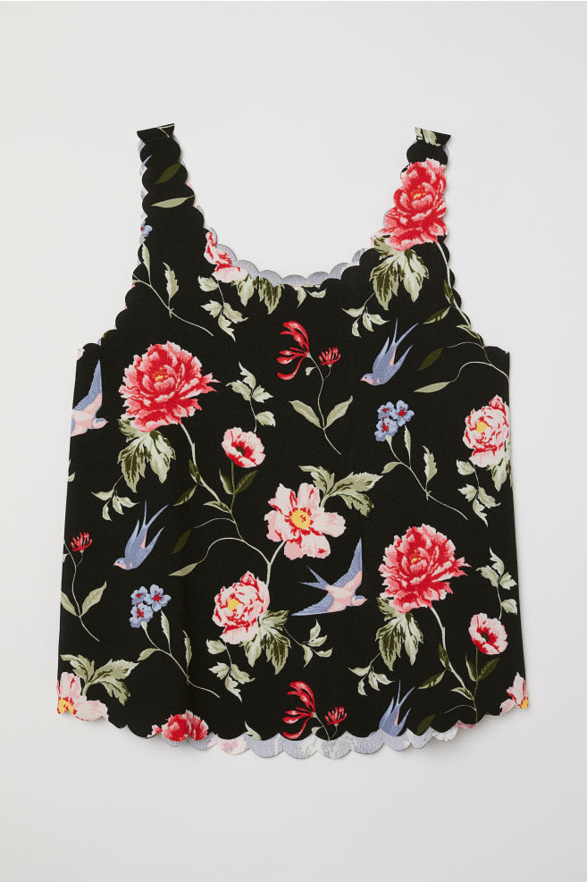 7c24c68ad578d3 Scallop-edged Tank Top - Black floral -