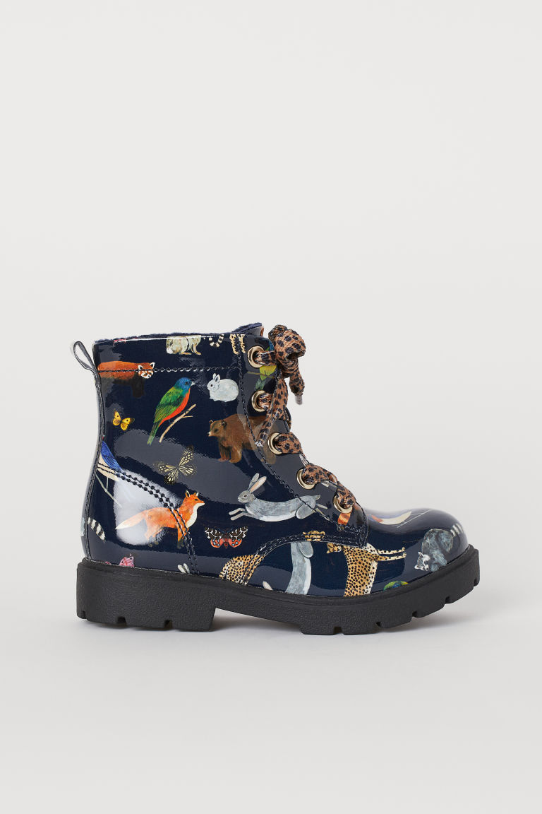 Warm-lined boots - Dark blue/Animals - Kids | H&M IN