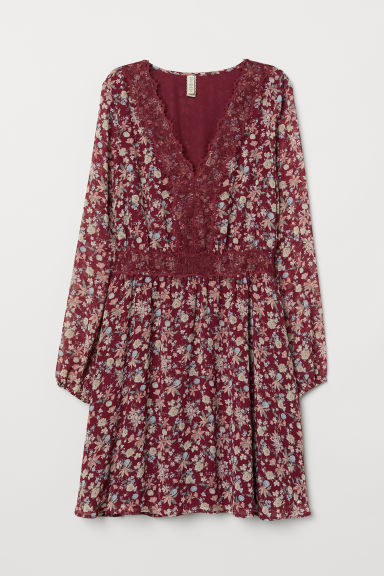 V-neck dress with lace - Burgundy/Floral -  | H&M IE