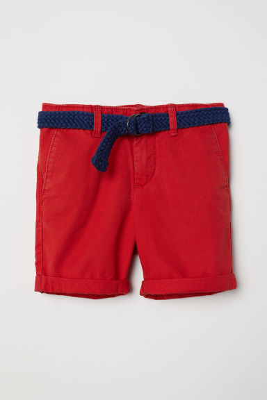 Shorts with a belt - Red - Kids | H&M