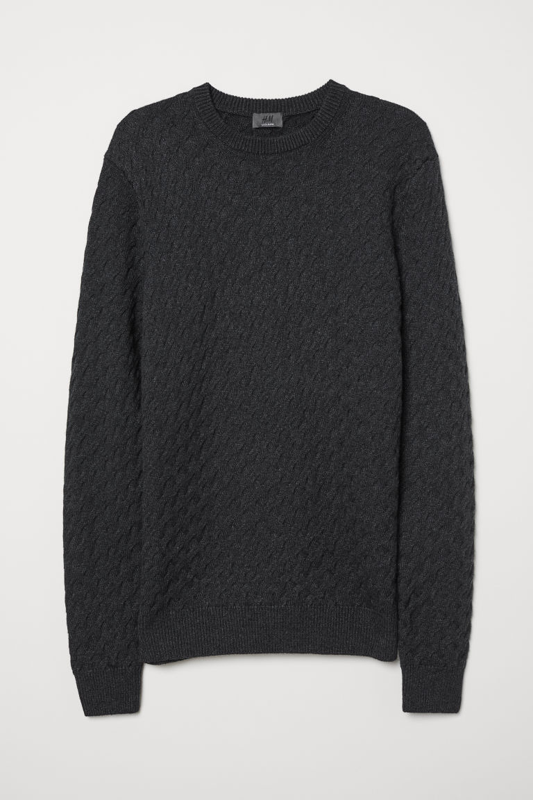 Lambswool jumper - Dark grey marl -  | H&M