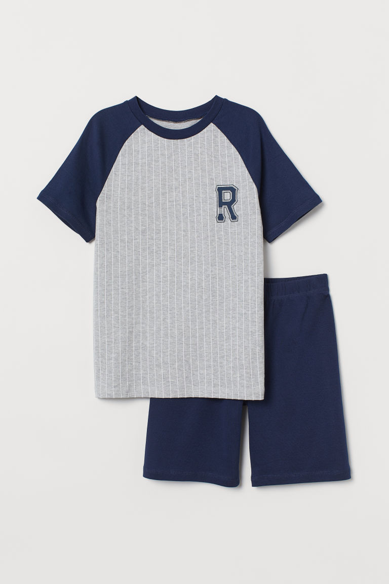 Jersey pyjamas - Grey marl/Dark blue - Kids | H&M