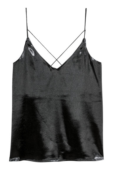 Satin strappy top - Black - Ladies | H&M