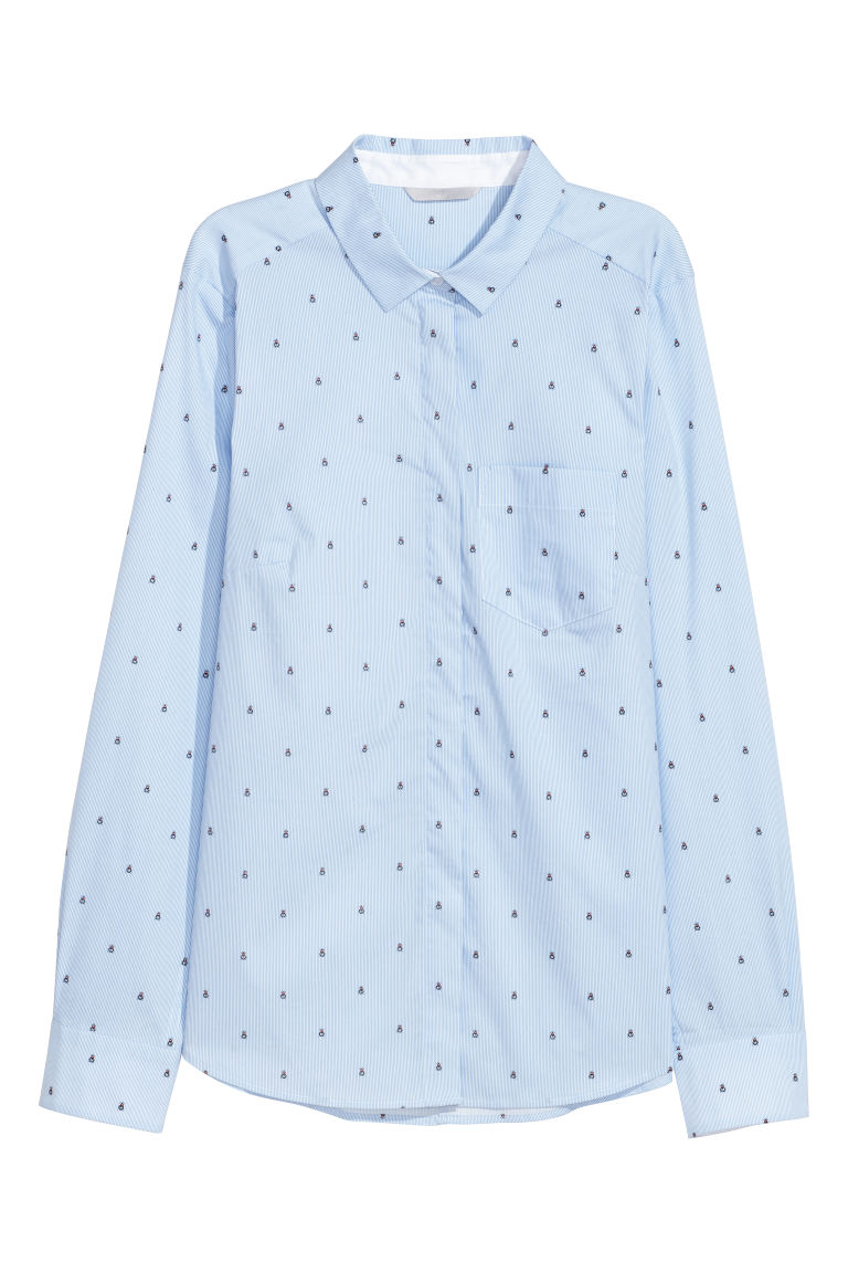 Fitted shirt - Light blue/Insects - Ladies | H&M CN