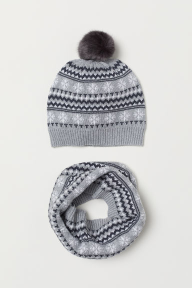 Hat and tube scarf - Grey marl - Kids | H&M