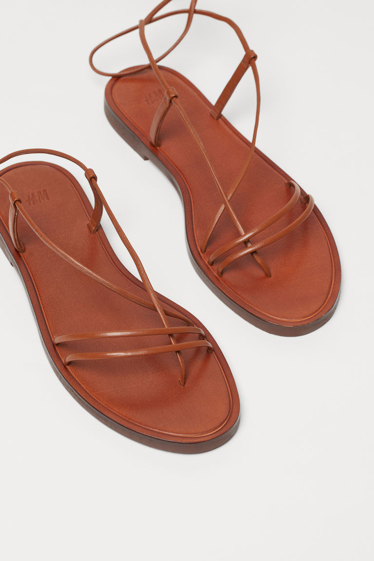Leather sandals - Brown - Ladies | H&M IN