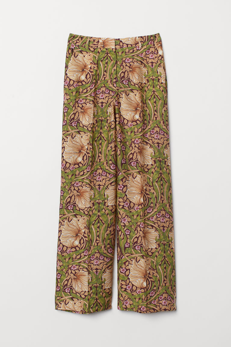 Wide trousers - Burgundy/Floral - Ladies | H&M IE
