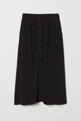 Gently Flared Knee Length Skirt In Soft Satin Made From Recycled Polyester Visible Zip At Back Unlined Source Black Women H M Us