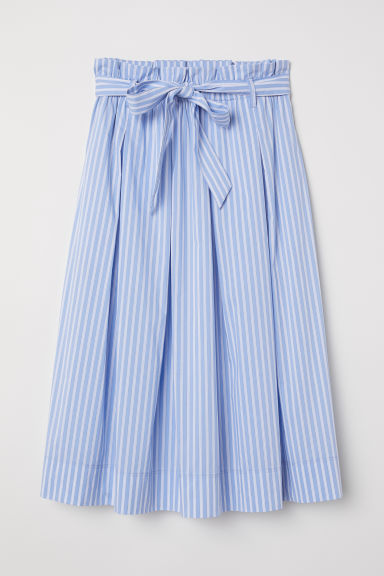 Calf-length skirt - Blue/White striped - Ladies | H&M