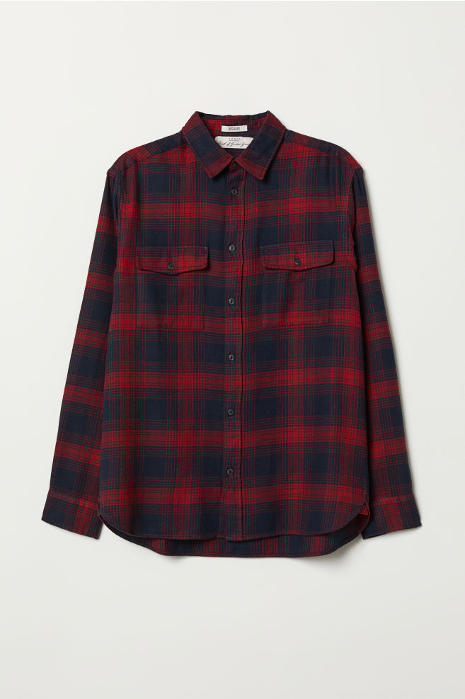 37b1c107f52 Regular Fit Flannel Shirt - Red plaid - Men