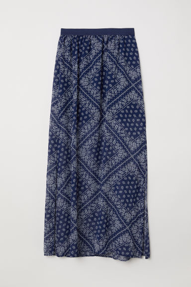 Long skirt - Dark blue/Paisley-patterned -  | H&M