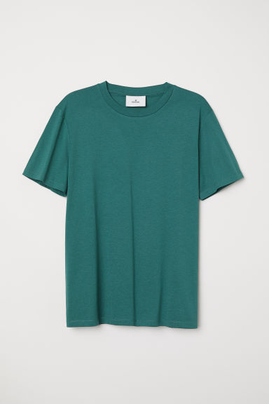 Cotton and silk T-shirt - Dark green - Men | H&M