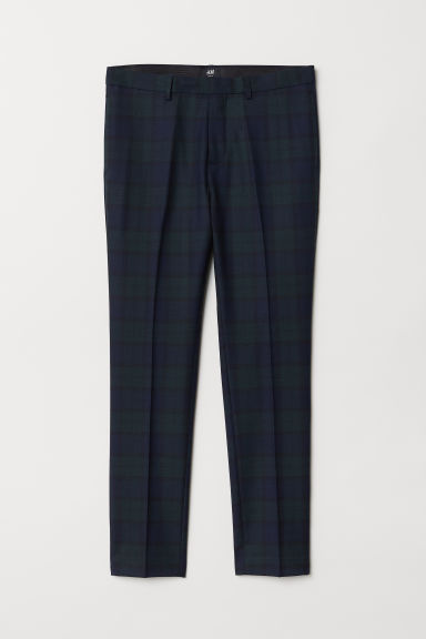 Wool-blend trousers Slim Fit - Dark green/Checked - Men | H&M CN