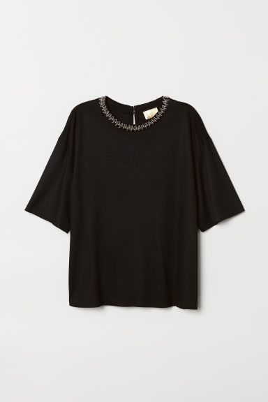 Top with Beaded Appliqués - Black - Ladies | H&M US