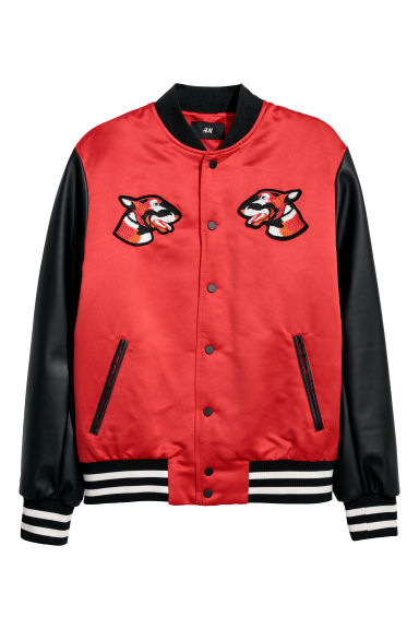 Padded baseball jacket - Red - Men | H&M CN