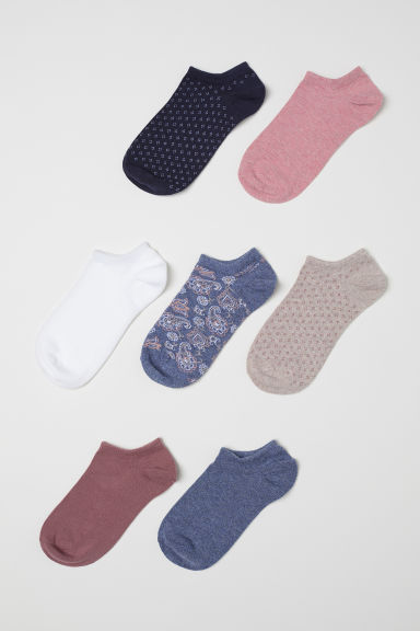 7-pack trainer socks - Dark pink/Patterned - Ladies | H&M CN