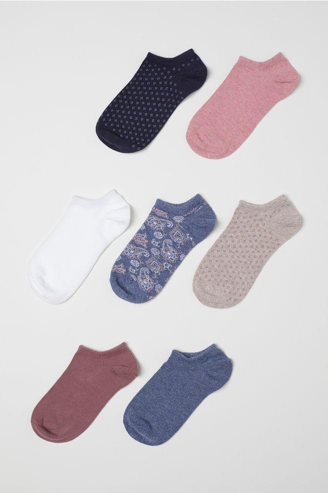 7 párov členkových ponožiek - tmavoružová vzorovaná - ŽENY  aec529583b