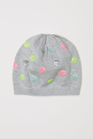 Fine-knit hat with sequins - Grey/Spots -  | H&M CN
