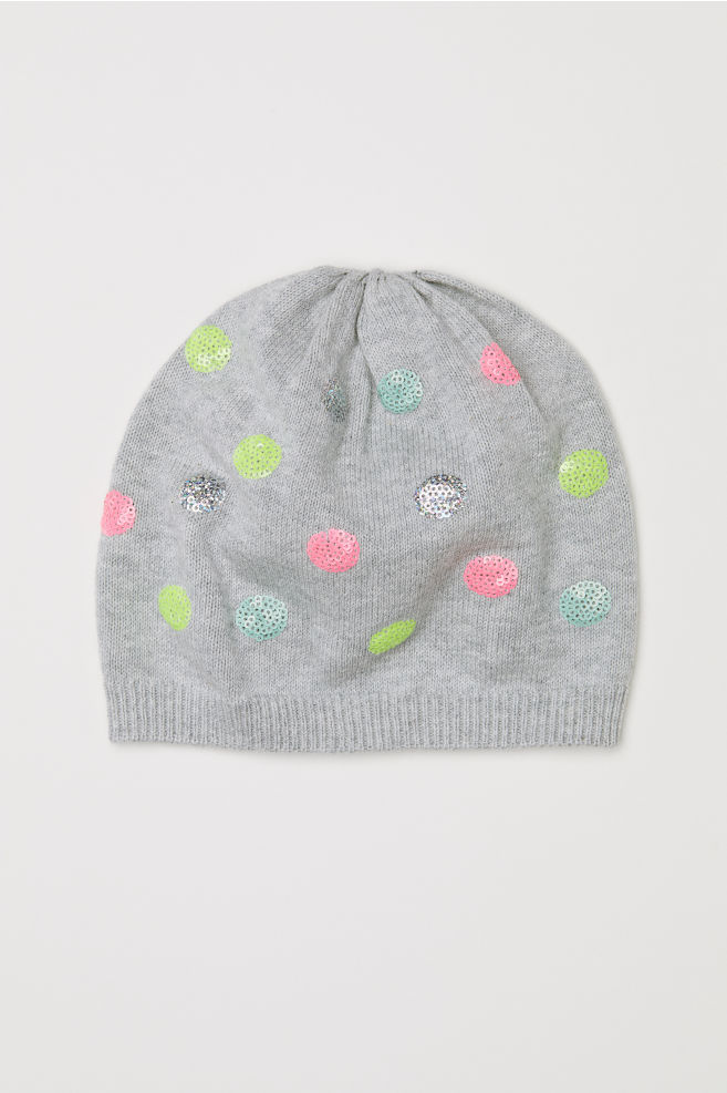 Fine-knit Hat with Sequins - Gray dots - Kids  f9195559de0