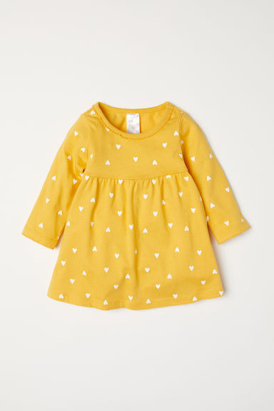 Jersey dress - Yellow/Hearts - Kids | H&M IN
