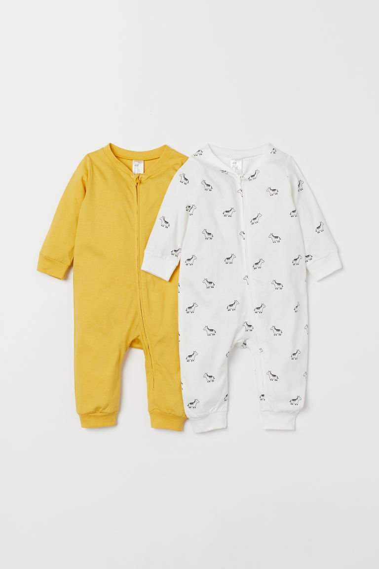 2-pack zip-up pyjamas - Yellow/Zebras - Kids | H&M