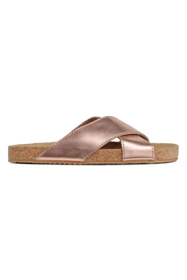 Leather sandals - Rose gold-coloured -  | H&M
