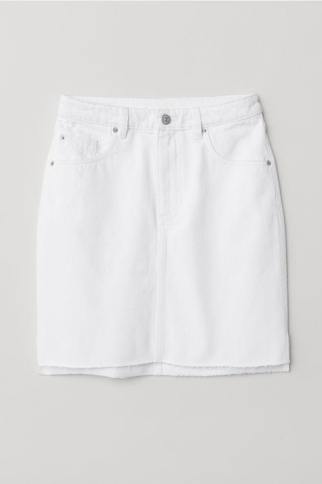 15f04af78c2 Short Denim Skirt - White - Ladies
