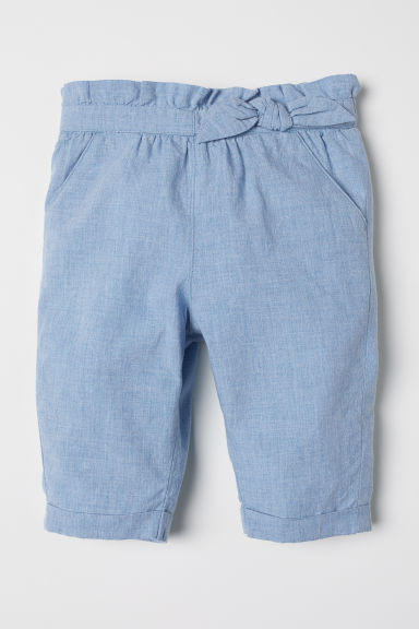Tie-detail trousers - Light blue - Kids | H&M CN